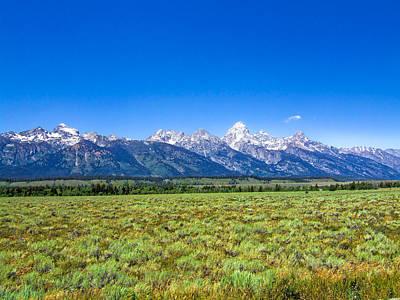Vintage Uk Posters - Grand Teton National Park Mountain Range by Ginger Wakem
