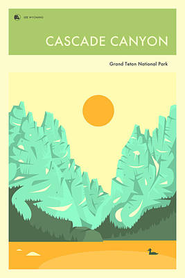 Cascade Canyon Digital Art - Grand Teton National Park Poster by Jazzberry Blue