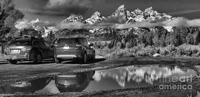 Photograph - Grand Teton Premier Parking Black And White by Adam Jewell