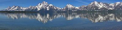 Photograph - Grand Teton Range Reflection Panorama by Dan Sproul