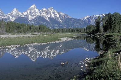 Out West Photograph - Grand Teton Reflection At Schwabacher Landing by Sandra Bronstein