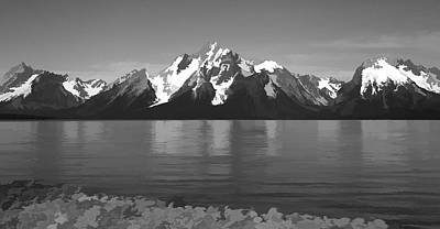 Painting - Grand Teton Reflection On Jackson Lake Black And White by Dan Sproul