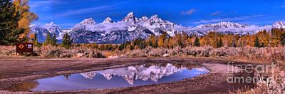 Photograph - Grand Teton Snowmelt Reflection Panorama by Adam Jewell