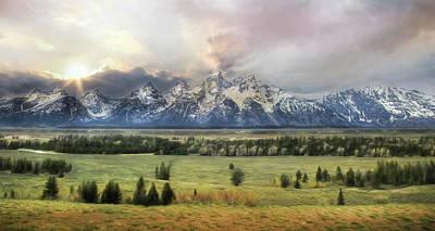 Digital Art - Grand Teton Sunset by Lori Deiter