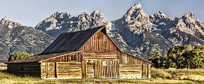 Photograph - Grand Tetons And Mormon Row Barn At Sunrise 02 by Josh Bryant