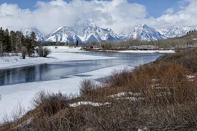 Photograph - Grand Tetons From Oxbow Bend by Belinda Greb