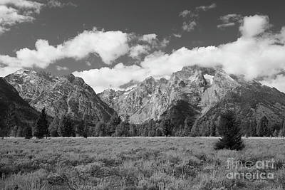 Grand Tetons In Black And White Art Print