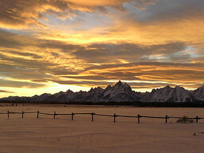 Grand Tetons In January Glory Art Print