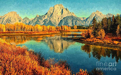 Grand Tetons Late Fall  Art Print by Garland Johnson