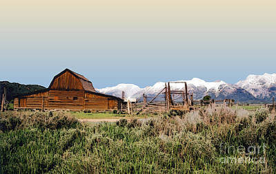 Teton Digital Art - Grand Tetons - Mormon Row 3 by Linda  Parker