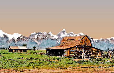 Yellowstone Digital Art - Grand Tetons-mormon Row 7 by Linda  Parker