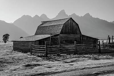 Photograph - Grand Tetons Mormon Row Black And White by John McGraw