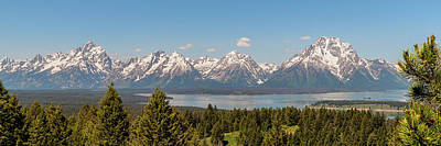 Grand Tetons Over Jackson Lake Panorama Art Print