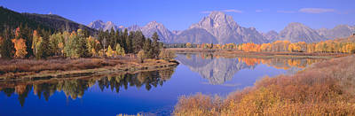 Grand Tetons Reflected In Oxbow Bend Art Print by Panoramic Images