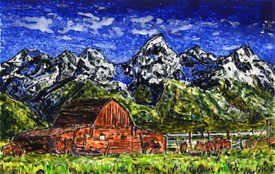 Painting - Grand Tetons With Buffalo by Phil Strang