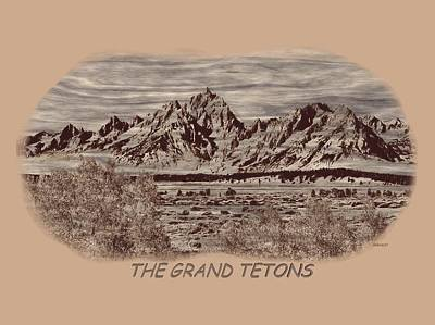 Photograph - Grand Tetons Woodburning 2 by John M Bailey