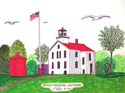 Drawing - Grand Traverse Lighthouse by Frederic Kohli