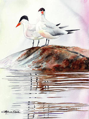 Painting - Grand Traverse Terns by LeAnne Sowa