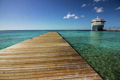 Carnival Victory Photograph - Grand Turk With Carnival Victory by Timothy Cummiskey