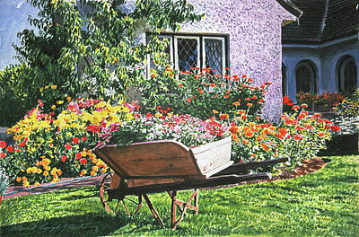 Planter Wall Art - Painting - Grandad's Wheelbarrow by David Lloyd Glover