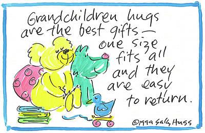 Wall Art - Painting - Grandchildren Hugs W Blue by Sally Huss