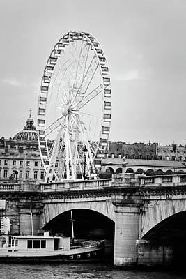 Photograph - Grande Roue In Paris - Black And White by Melanie Alexandra Price