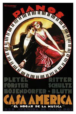 Mixed Media - Grandest Pianos At Casa America - Vintage Advertising Poster by Studio Grafiikka