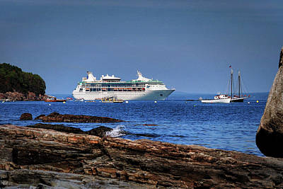 Photograph - Grandeur Of The Seas At Anchor In Bar Harbor by Bill Swartwout