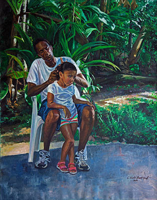 Fixing Painting - Grandfather And Child by Colin Bootman
