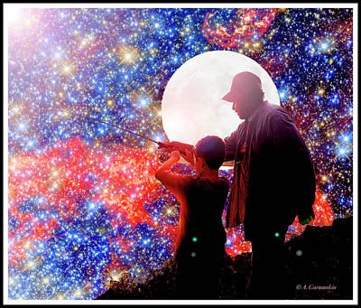 Digital Art - Grandfather And Grandson Night Fishing by A Gurmankin NASA