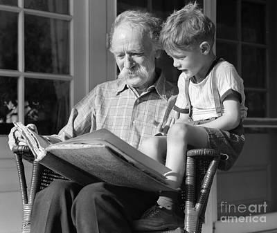 Old Grandfather Time Photograph - Grandfather Reading To Boy, C.1940s by H. Armstrong Roberts/ClassicStock