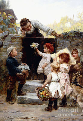 Grandkids Painting - Grandfather's Birthday by Frederick Morgan