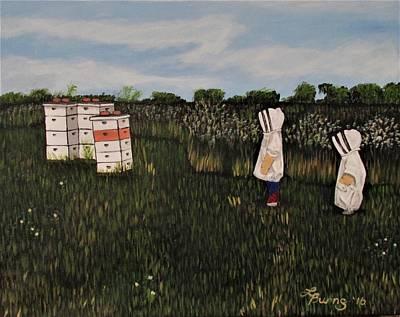 Grandkids Painting - Grandkids In The Beeyard by Lisa Burns