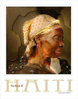 Haitian Painting - grandma - the people of Haiti series poster by Bob Salo