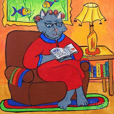 Painting - Grandma Beatrice Reads A Book by Reb Frost