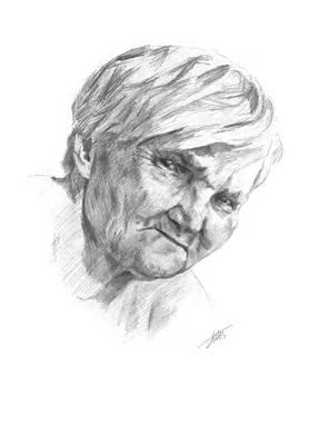 Drawing - Grandma by Masha Batkova