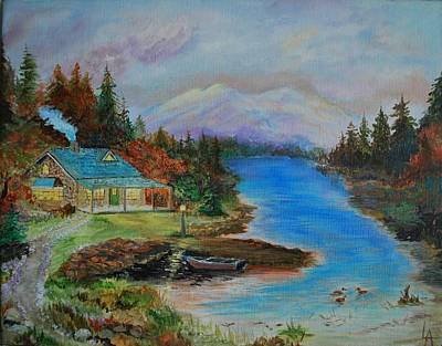 Painting - Grandmas Cabin by Leslie Allen