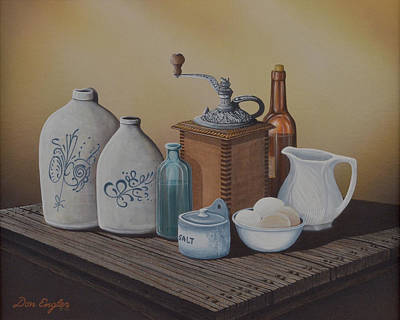Old Grinders Painting - Grandma's Jars by Don Engler