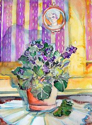 Grandmas' Violets Art Print by Mindy Newman