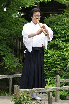 Photograph - Grandmaster Playing Shakuhachi by Masami Iida