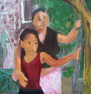 Grandmother And Grand-daughter In  Honduras Art Print by Ellen Seymour