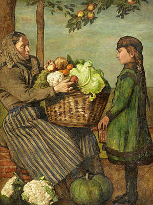 Painting - Grandmother And Granddaughter With A Vegetable Basket by Treasury Classics Art