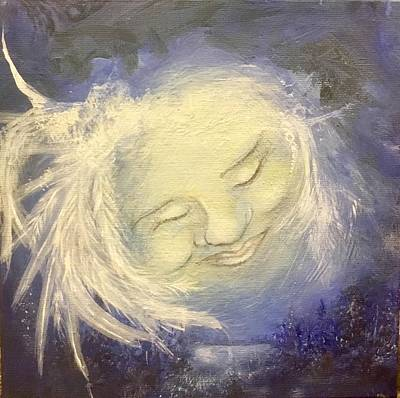 Mystical Landscape Painting - Grandmother Moon by Susan Edwards