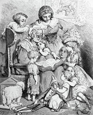 Grandmother Telling A Story To Her Grandchildren Art Print by Gustave Dore