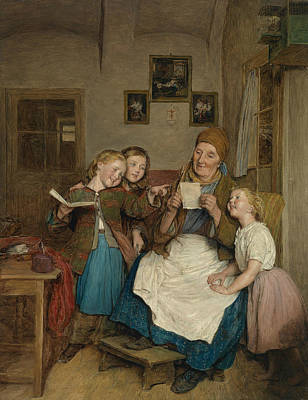 Painting - Grandmother With Three Grandchildren by Ferdinand Georg Waldmuller
