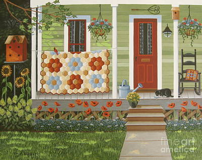 Porch Painting - Grandmother's Flower Garden by Mary Charles