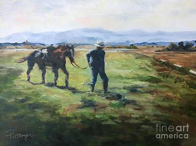Man And His Horse Painting - Grandpa On The Ranch - A Time And A Season by Lori Pittenger