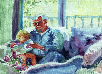 Painting - Grandpa Reading by Kathy Braud