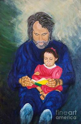 Grandpa Reads A  Story Art Print by Nancy Rucker