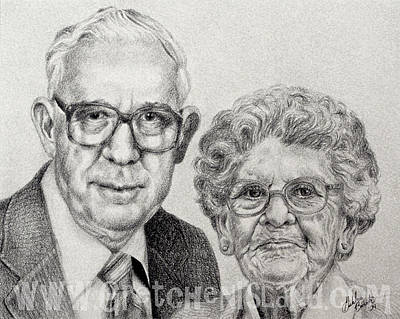 Watercolor Pet Portraits Drawing - Grandparents by Gretchen Barota
